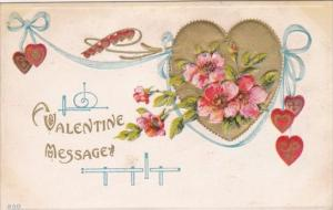 Valentine's Day Gold Heart With Beautiful Flowers 1913