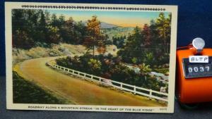 STD Vintage Roadway Along Mountain Stream Blue Ridge MtnAsheville North Carolina