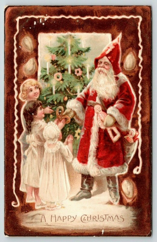 Victorian Christmas~Old Style Santa~Pretzel~Gingerbread Man~Girls~Tree~Nuts~1905