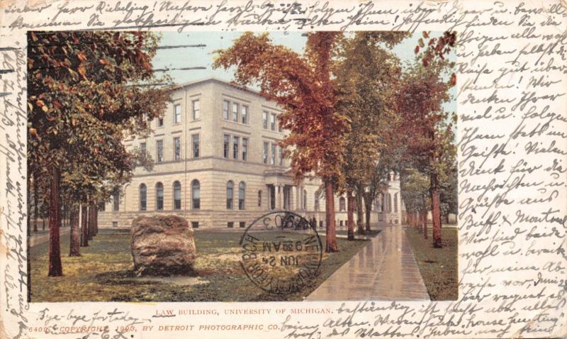 ANN ARBOR MI~UNIVERSITY OF MICHIGAN DELTA LAW BUILDING POSTCARD 1903 PMK GERMANY