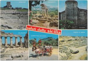 Saluti dalla Sicilia, Sicily, multi view, Italy, 1989 used Postcard