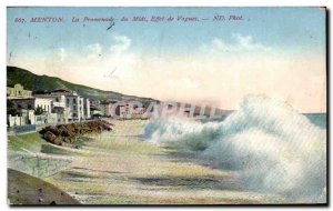 Old Postcard Menton Promenade du Midi Waves Effect