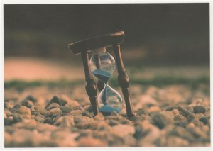 Sand Hourglass Clock Sinking Stunning German Time Postcard
