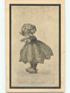 Pre-Linen signed SWEET CAROLINA - CUTE GIRL REACHING OUT k6559