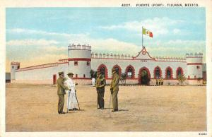 Tijuana Mexico Fort View Military Guards Antique Postcard K11575