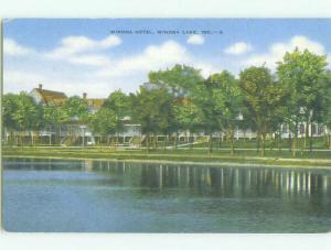 Unused Linen WINONA HOTEL Winona Lake - Wayne Indiana IN hr7589
