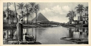 Vintage Egypt Postcard, Cairo Flood Time, Pyramids, Panoramic Bookmark Style BE1