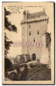 Old Postcard Chinon I and L Chateau My hist Tower of the XIII century Clock a...
