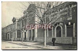 Old Postcard Digne Bank Theater and Caisse d & # 39Epargne