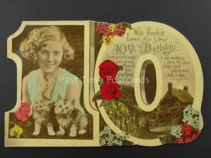 c1930's LITTLE GIRL WITH TWO KITTENS Cut Out Numeral 10th Birthday Postcard