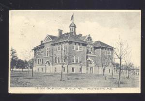 MONETT MISSOURI HIGH SCHOOL BUILDING ROCKVILLE IND. VINTAGE POSTCARD