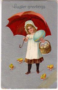 Easter Greetings, Girl, Egg, Chicks & Umbrella