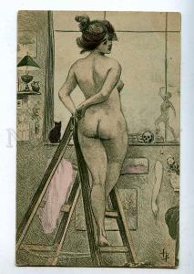 199083 ART NOUVEAU Nude Plump BELLE Model SKULL by HB vintage