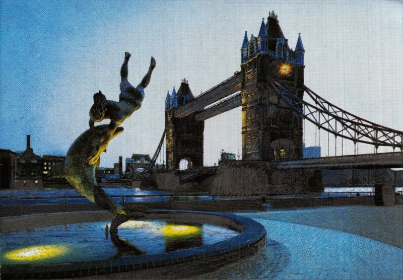 Dufex Foil London Postcard, Tower Bridge at Night 88X