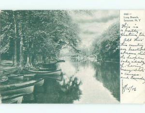 Pre-1907 CANOE BOATS BY SHORELINE Syracuse New York NY n6858