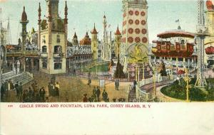 C-1905 Coney Island New York Circle Swing Luna Park Postcard Fountain 3271