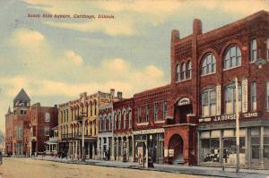 Carthage Illinois South Side Square Historic Bldgs Antique Postcard K101785
