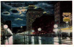 Salt Lake City, Utah - A look at Main Street at Night - in 1929