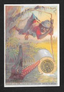 VICTORIAN TRADE CARD Merrick Thread Black Boy & Alligator