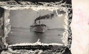 LP13  California RPPC  Postcard San Francisco Harbor U. S. Army Transport ship