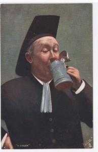 The Jolly Priest Drinking Beer A Cooler Tuck art 1910c postcard