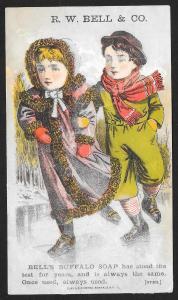 VICTORIAN TRADE CARD Bells Buffalo Soap Girl & Boy Ice Skating