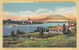 Massachusetts Cape Cod Bourne Bridge and Cape Cod Canal 1946 Curteich