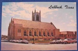 Lubbock TX 1st Methodist Church Old Cars Postcard