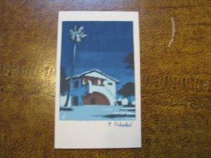 Topanga Canyon CA Serigraph Hand-Made Postcard Sheehan Topanga Canyon
