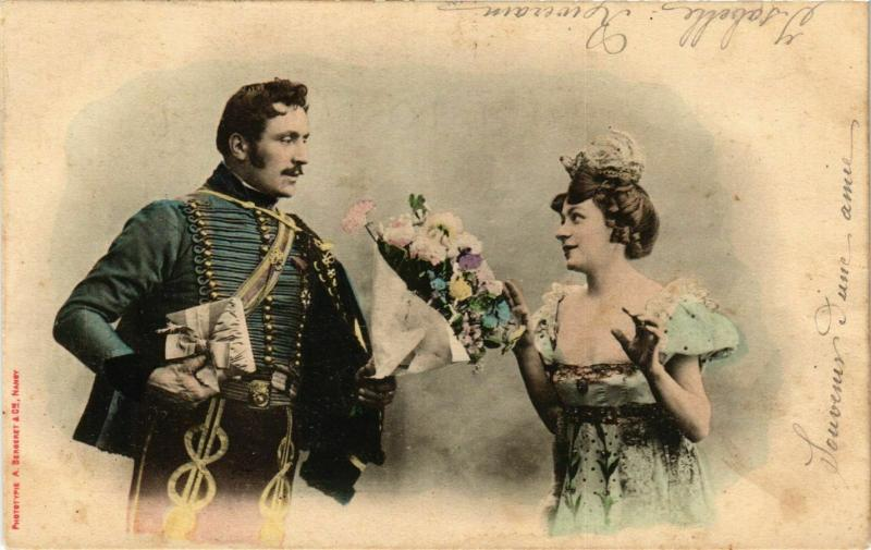 CPA Soldiers with his Girlfriend and Flowers BERGERET (855325)