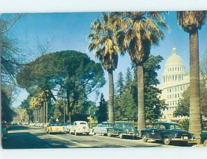Unused 1950's OLD CARS BY CAPITOL BUILDING Sacramento California CA G0246