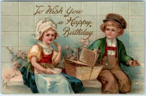 Vintage HAPPY BIRTHDAY Postcard Dutch Boy & Girl w/ Picnic Basket - 1908 Cancel