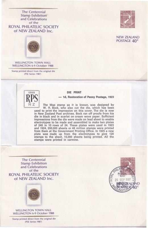 Die Print 1d Restoration Of Penny Postage Specimen New Zealand 2x FDC s
