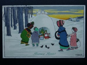 French Happy New Year Greeting HEUREUSE ANNÉE P. Ebner c1913 Postcard by M. Munk