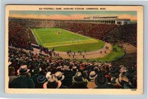 Football Game, Harvard Stadium, Vintage Cambridge Massachusetts Postcard