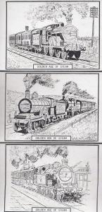 GER Southend Railway 3x Artist Drawing Train Postcard s