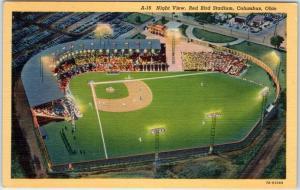 c1940s Columbus, Ohio Baseball Postcard Night View, Red Bird Stadium Linen
