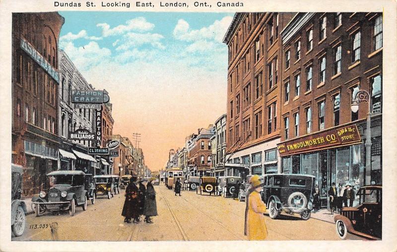 London Ontario Canada~Dundas Street East~FW Woolworth~Ralph's Billiards~1920s PC
