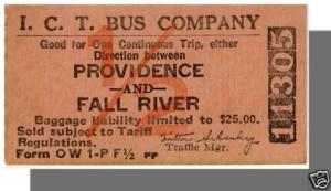 ICT BUS COMPANY TICKET, Providence, Rhode Island/RI to Fall River, MA/Mass