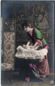 Tinted  RPPC BEAUTIFUL  WOMAN  & Her Baby  in  Bassinet   c1910s  Postcard