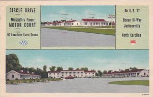 North Carolina Jacksonville Circle Drive Midsouths Finest Motor Court 1953