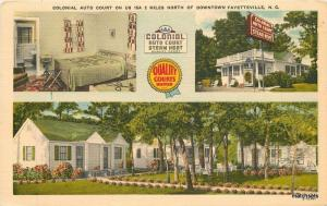 1940s Colonial Auto Court FAYETTEVILLE NC Linen Ahrens postcard 2059