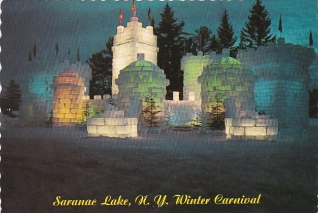 New York Adirondacks Saranac Lake Winter Carnival Illuminated Ice Palace