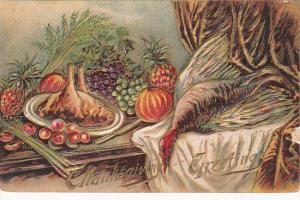 Thanksgiving Turkey and Vegetables On Table 1910