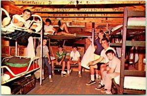 Lake Spofford, New Hampshire Postcard CAMP NOTRE DAME Cabin Interior View c1960s