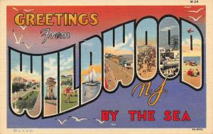 Wildwood by the Sea New Jersey~Large Letter Linen Postcard~Golfers~Amusements