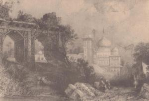 Monea India Ruins 1838 E Finden Antique Rare Painting Postcard
