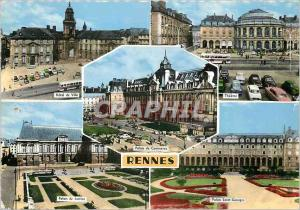 Postcard Rennes Modern Hotel City Palace Theater Trade