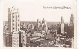 Illinois Chicago Aerial View Of Business District Real Photo