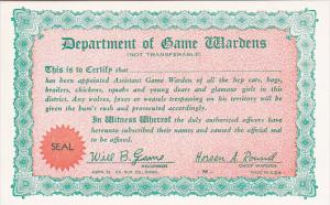 Humour Department Of Game Wardens Card